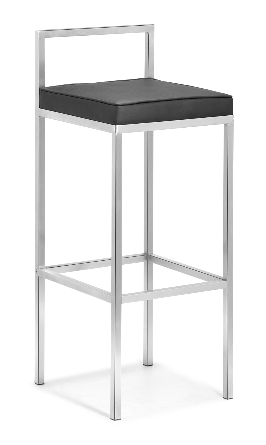 chic modern cymax bar stools with black leather seat and silver metal legs for home furniture ideas