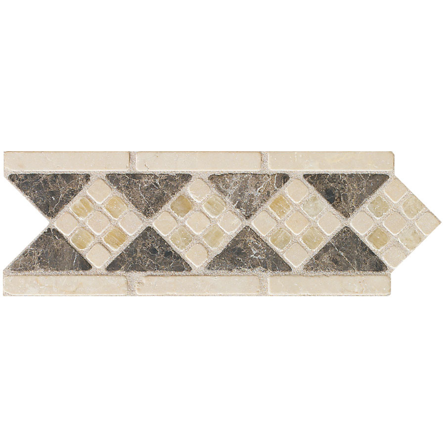 chic Mohawk Flooring artistic accent statements diamond mosaic decorative border in emperador onyx