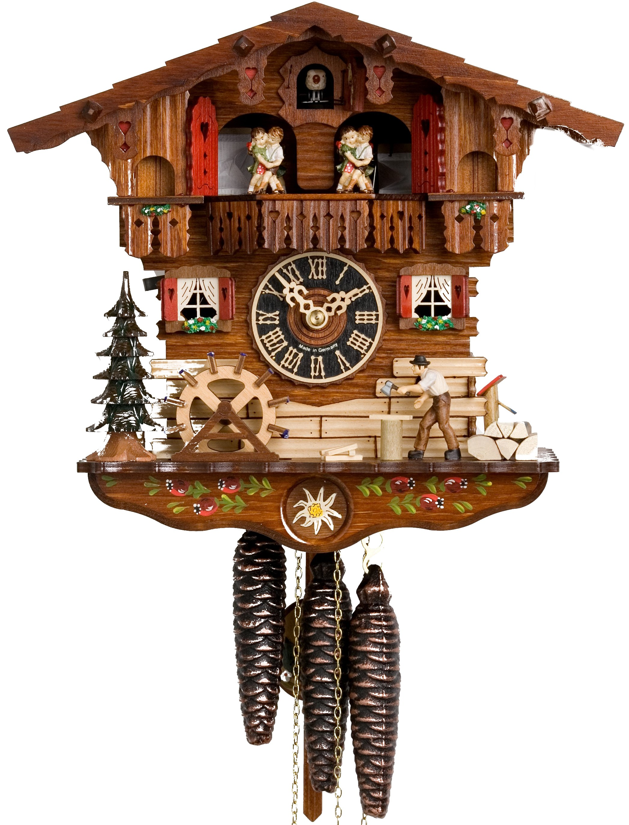 chic Moving Wood Chopper and Dancers Chalet 1 Day Mechanical cuckoo clock for home accessories ideas