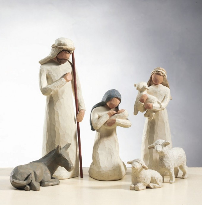 Chic Nativity Sets In White Theme With Seated Lamb And Horse For Christmas Decoration Ideas