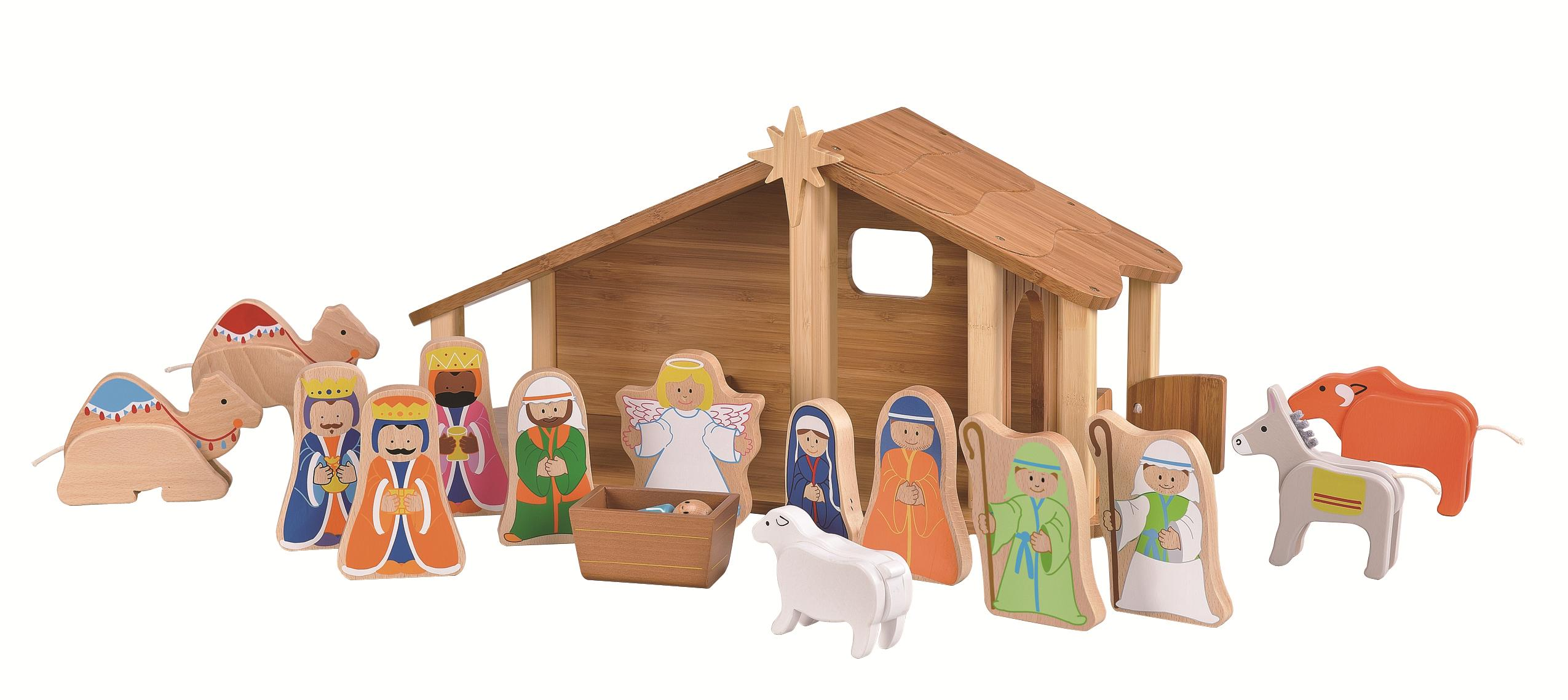 chic nativity sets made of bamboo for christmas decoration ideas
