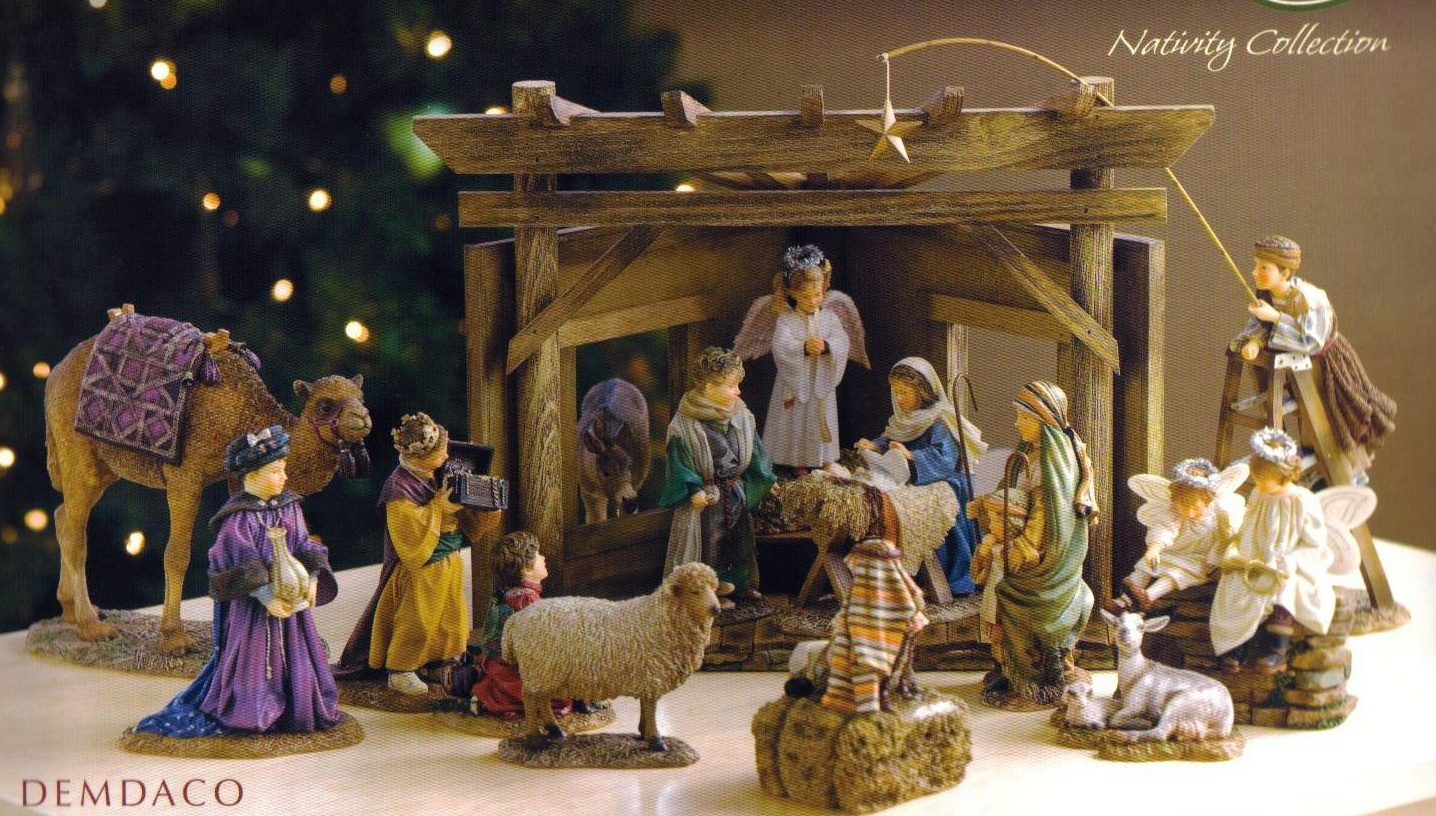 chic nativity sets with lamb for chrismas decoration ideas
