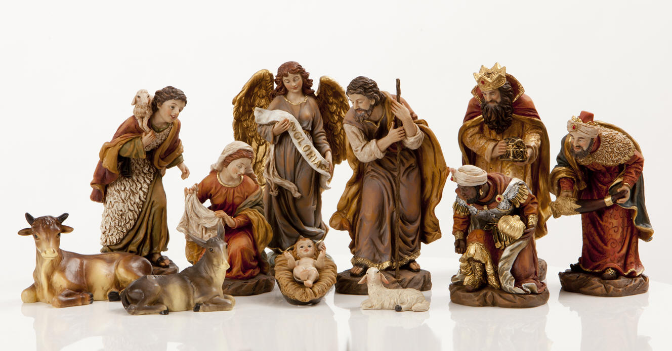 chic nativity sets with seated lamb for christmas decoration ideas
