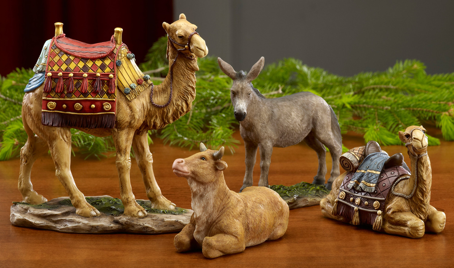 chic nativity sets with two camels and horse for christmas decor ideas