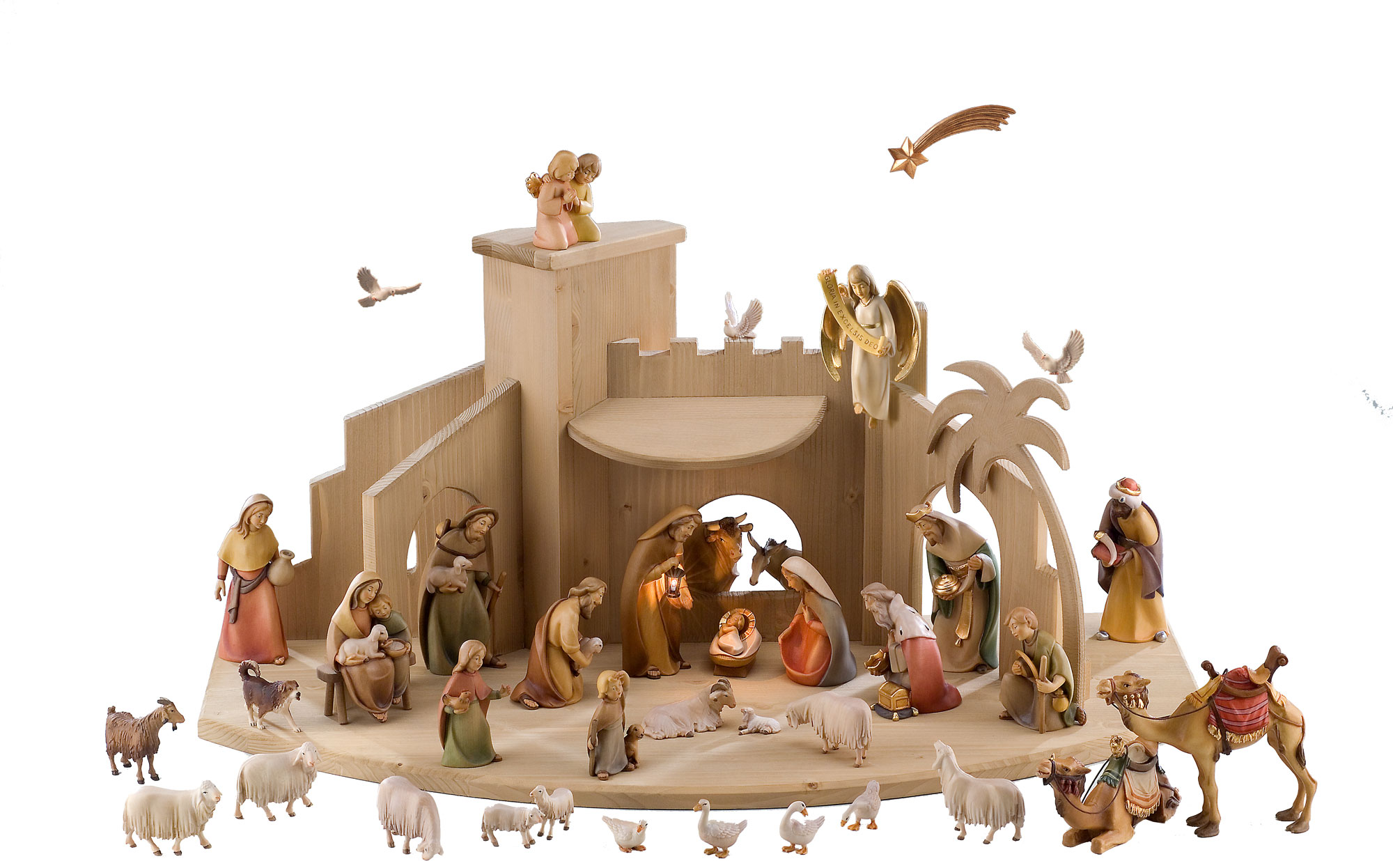 chic nativity sets with white animals for christmas accessories ideas