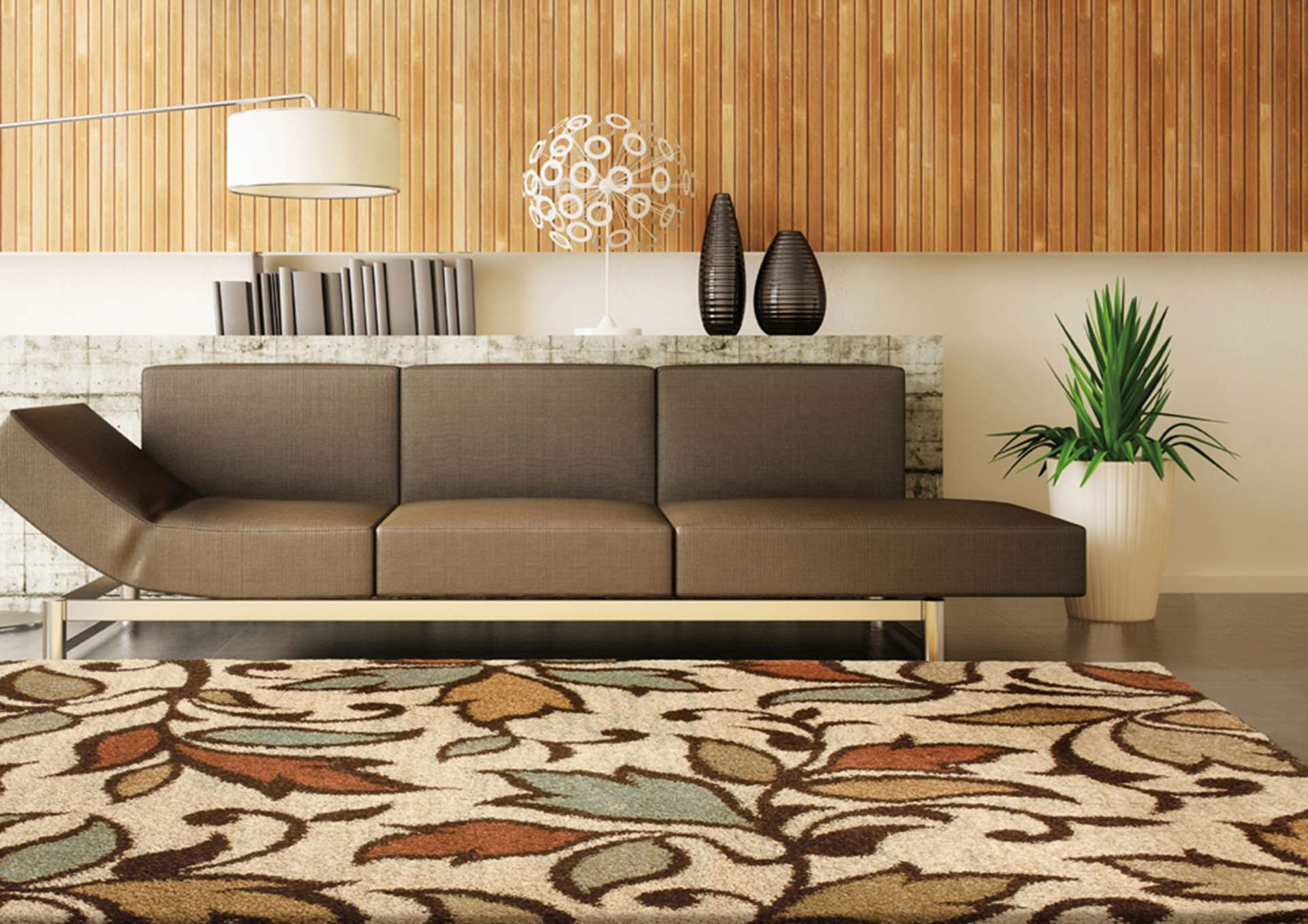 chic orian rugs plus tan sofa plus floor standing lamp for living room decor ideas