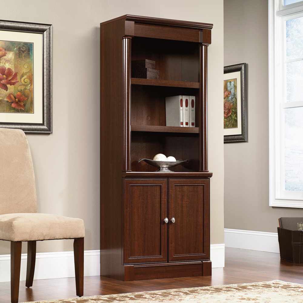 chic Palladia Library Bookcase with Doors by sauder furniture on wooden floor which matched with lavender wall for home office decor ideas