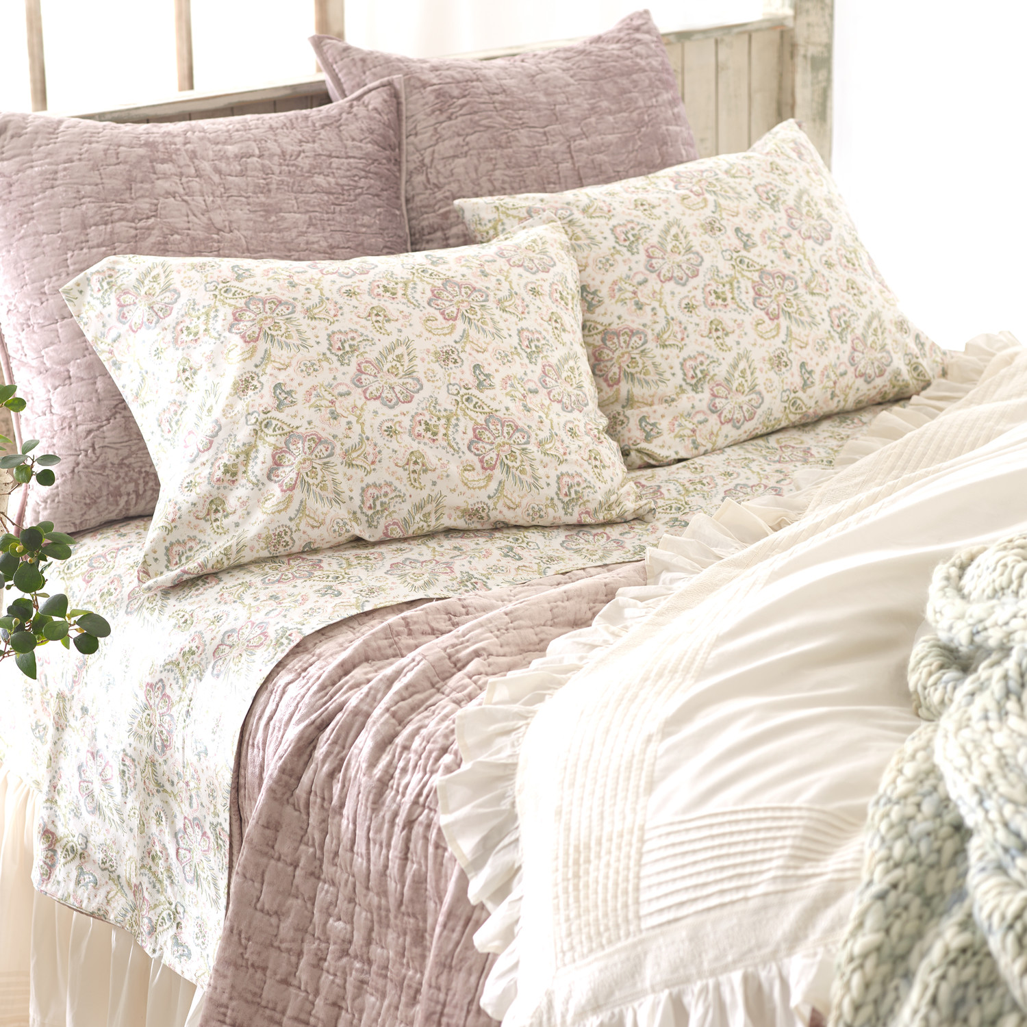 Chic Pine Cone Hill Fiona Duvet Cover In White And Purple With Floral Pattern For Bedding Ideas