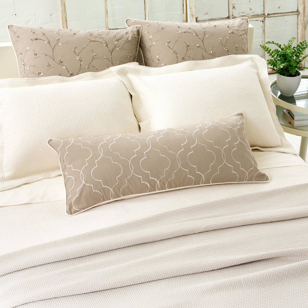 Lovely Pine Cone Hill Bedding For Interesting Bed Ideas: Chic Pine Cone Hill Interlaken Matelasse Coverlet In White And Tan With Floral Pattern For Bed Ideas