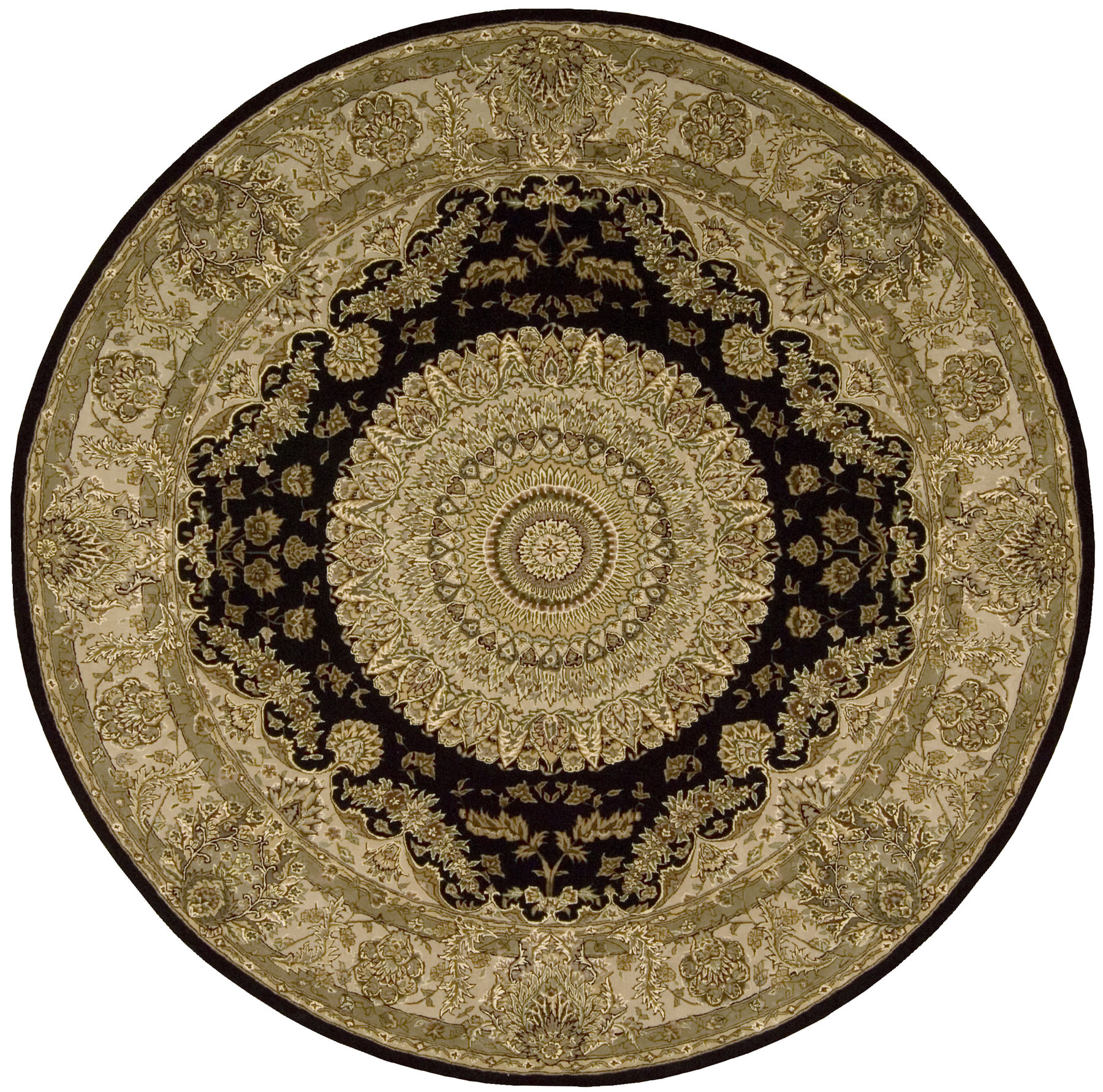 chic round nourison rugs with floral pattern for floor decor ideas
