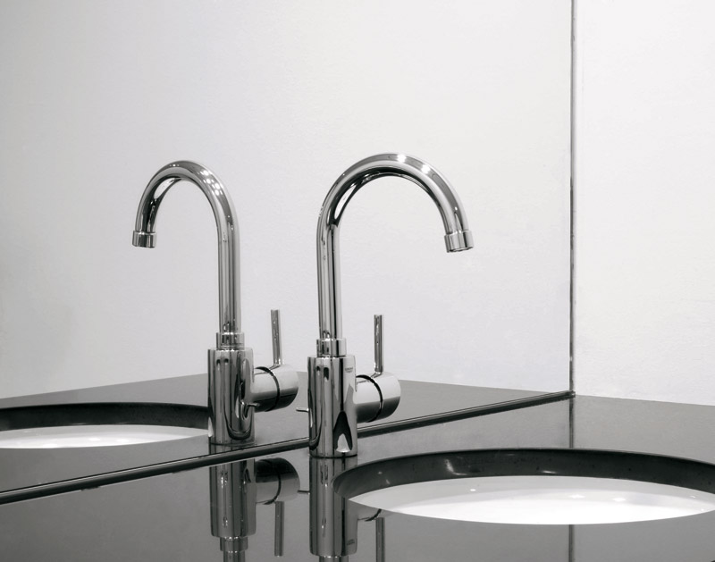 chic silver grohe faucets with single handle on black countertop plus sink for bathroom decor ideas