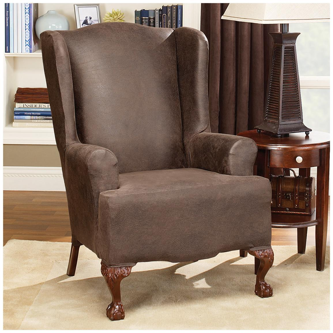 single living room chairs. chic single chair with surefit Stretch Leather Wing Chair Slipcover 581253  plus white rug on wooden Decorating Awesome Sofa With Surefit In Flax For Living