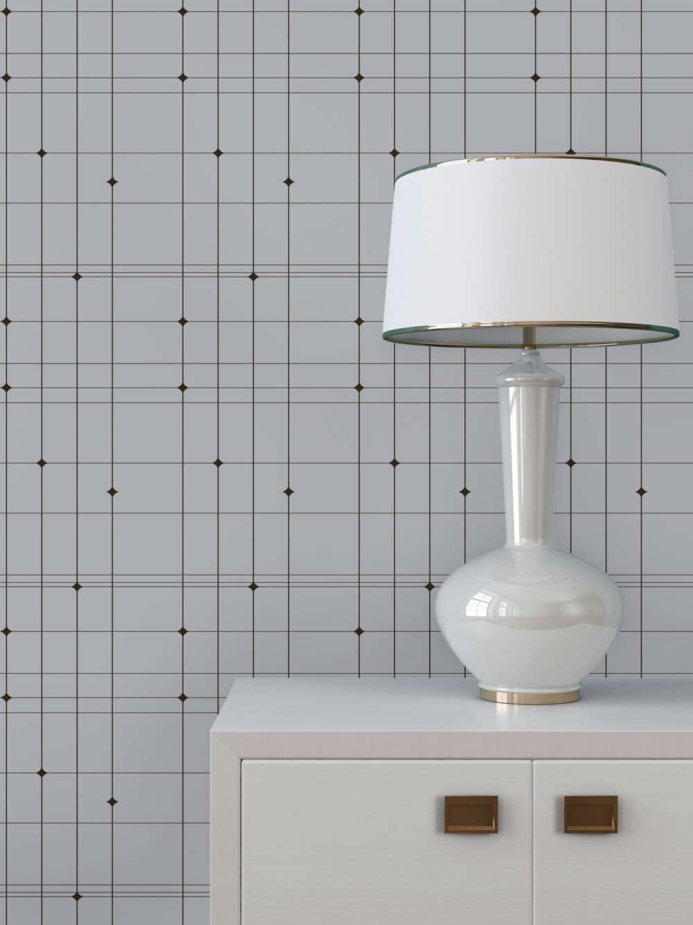 chic Tempaper Wallpaper in checked motif with table lamp for home furniture ideas