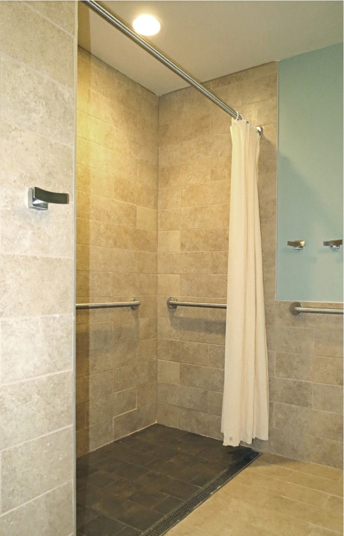 Chic Tile Wall With Schluter Strip And Towel Bar Plus Curtain For Awesome Bathroom Design Ideas
