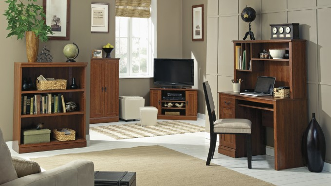 Chic Tv Stand And Desk Plus Wooden Cabinet By Sauder Furniture For Living Room Decor Ideas