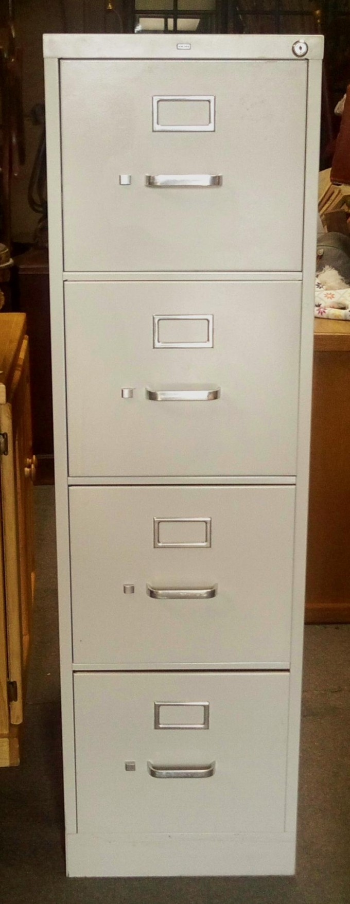 Chic Vertical Fireproof File Cabinet In Gray With Four Drawers And Silver Handle For Home Office Furniture Ideas