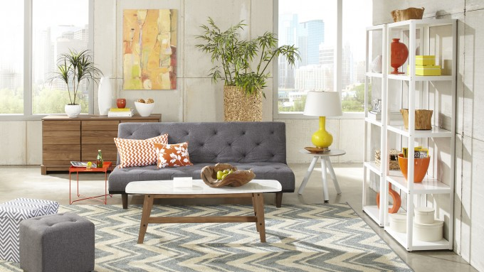 Chic White Shelving And Table By Sauder Furniture Plus Gray Sofa For Living Room Decor Ideas