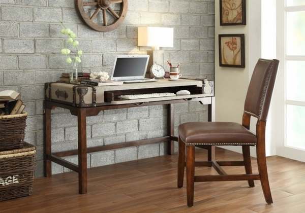 chic wooden desk by sauder furniture on brown floor for home office decor ideas