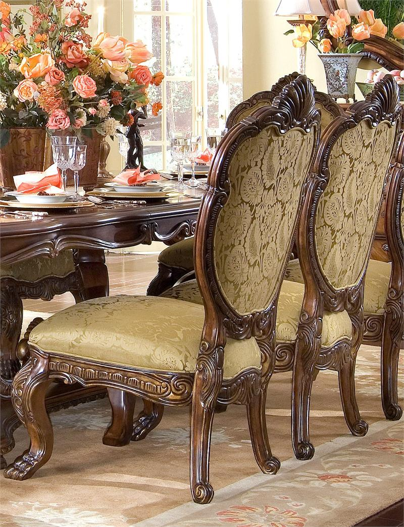 chic wooden dining table set with fabric seat and back chair by aico furniture on peach rug for dining room decor ideas