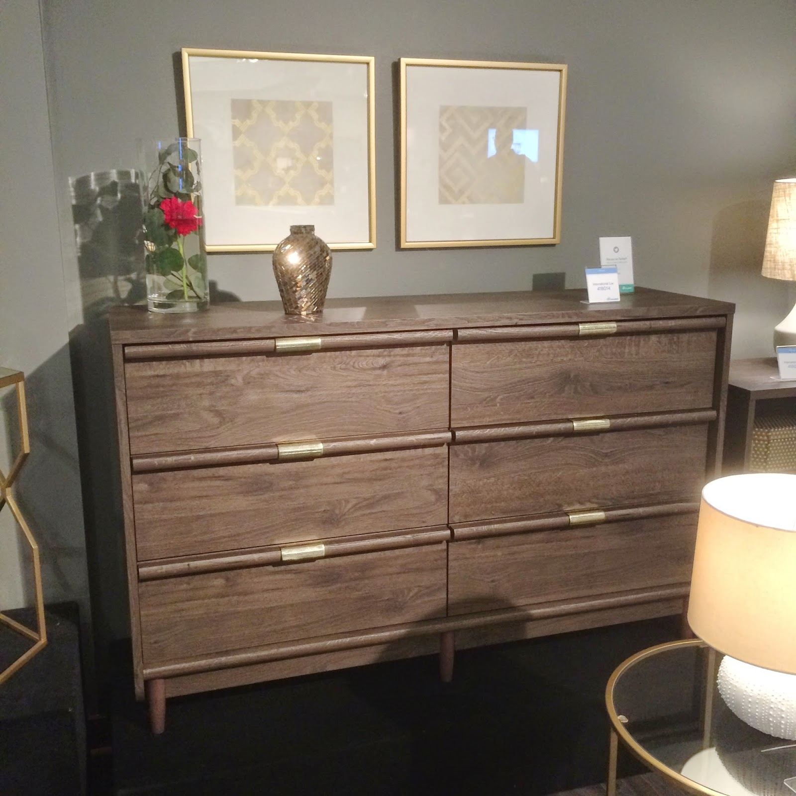 chic wooden dresser by sauder furniture on black tile floor which matched with gray wall for bedroom decor ideas