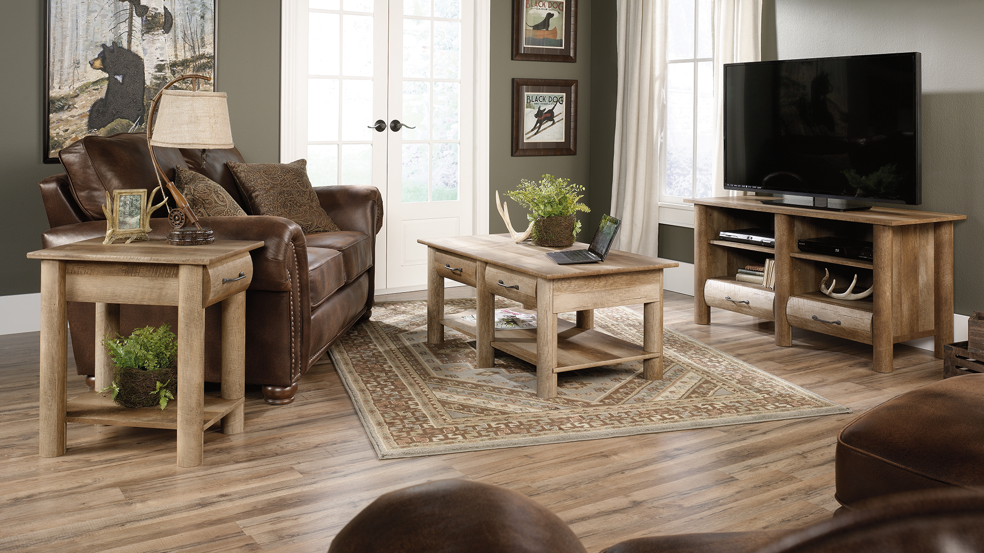 chic wooden tv stand by sauder furniture with wooden table and brown leather sofa on wooden floor with rug for living room decor ideas