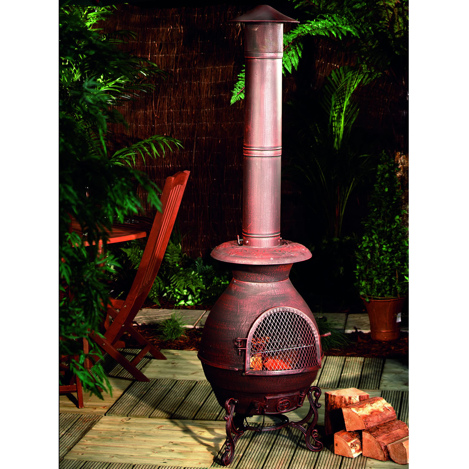 Chiminea Barbecue Grill Oudoor Garden Heater Cast Iron Gold For Patio Furniture Ideas