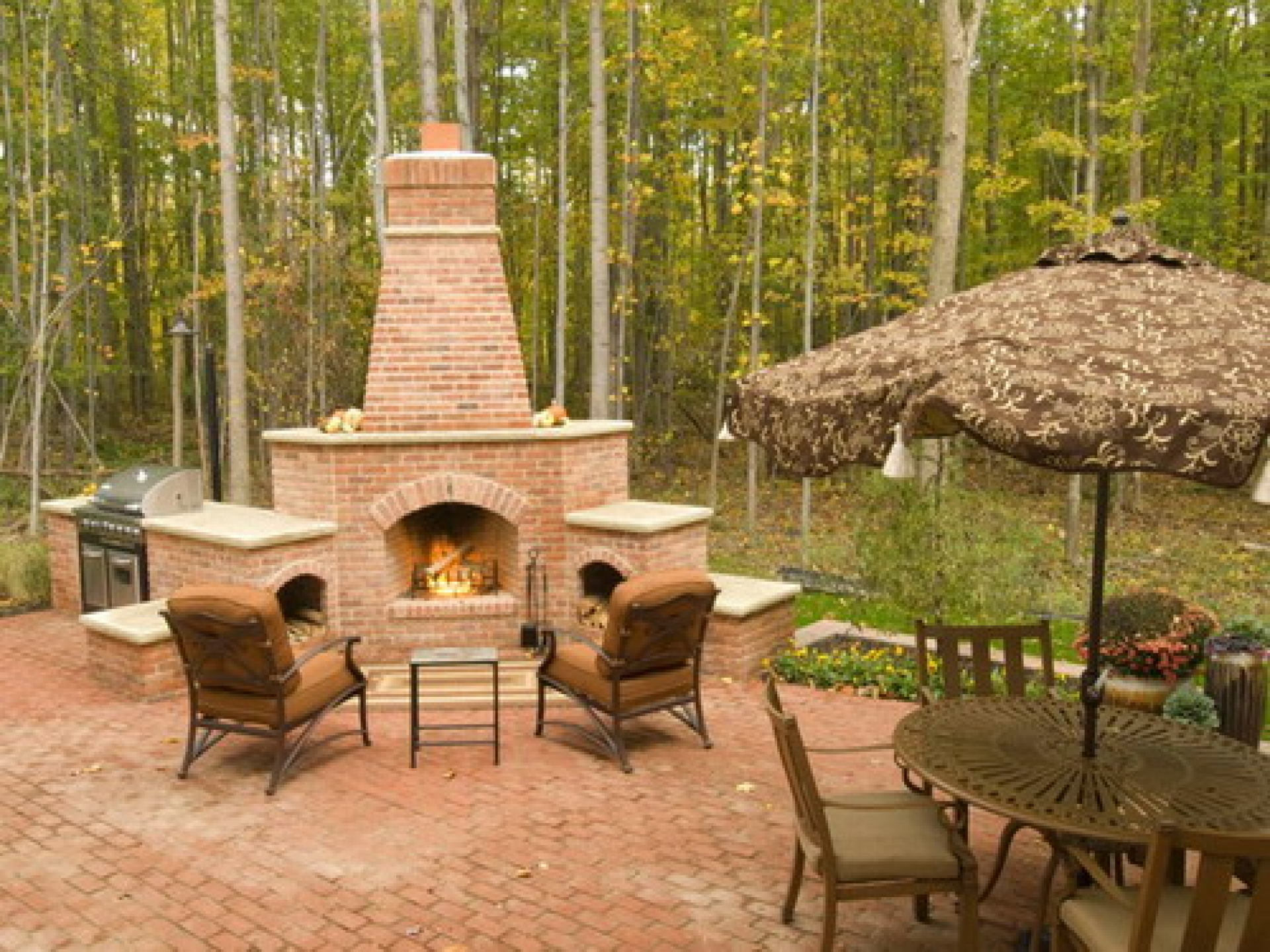 Chiminea Outdoor Bricks Fireplace With Chairs And Table On Brick Paver For Patio Decor Ideas