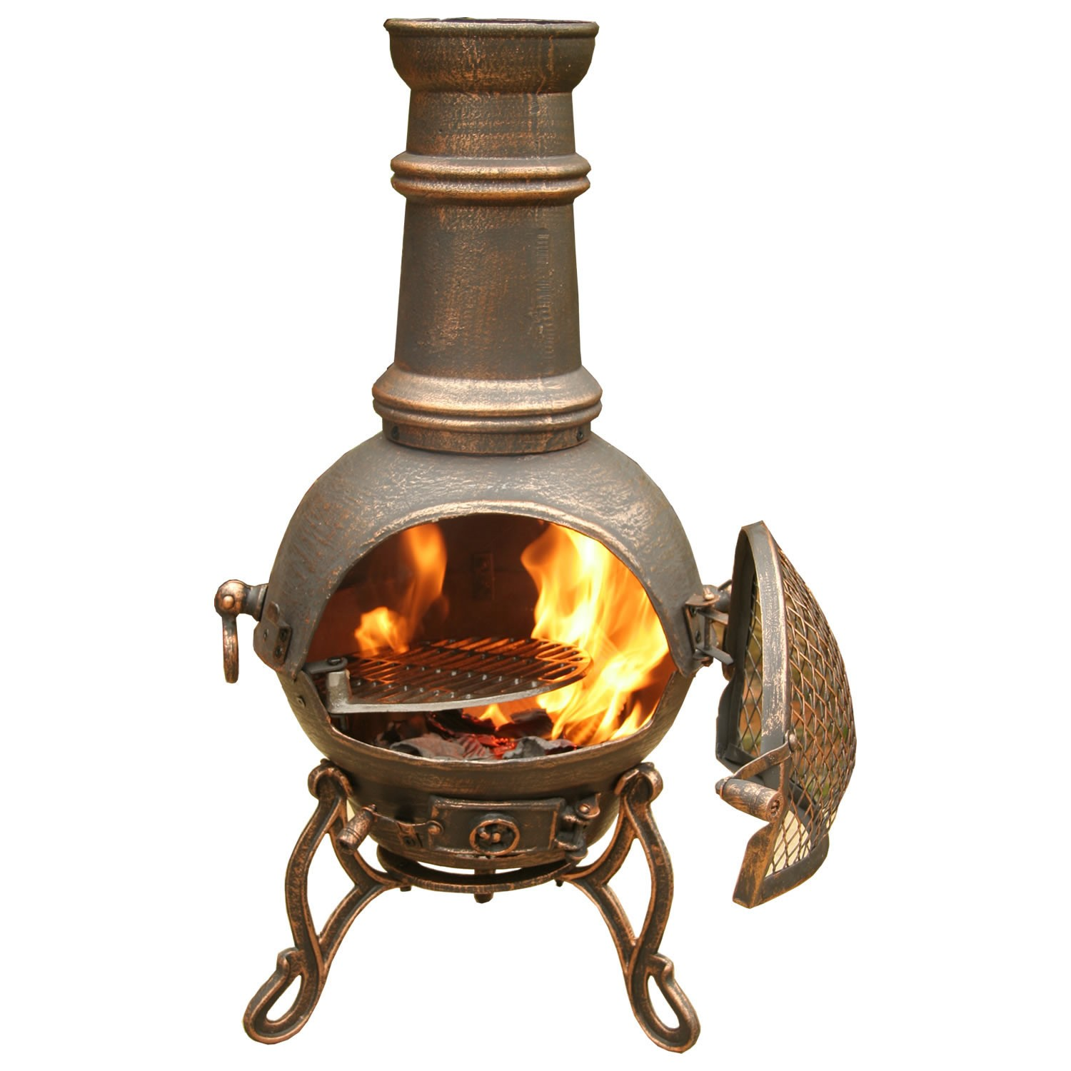 Chiminea Outdoor Fireplace in unique design for patio furniture ideas