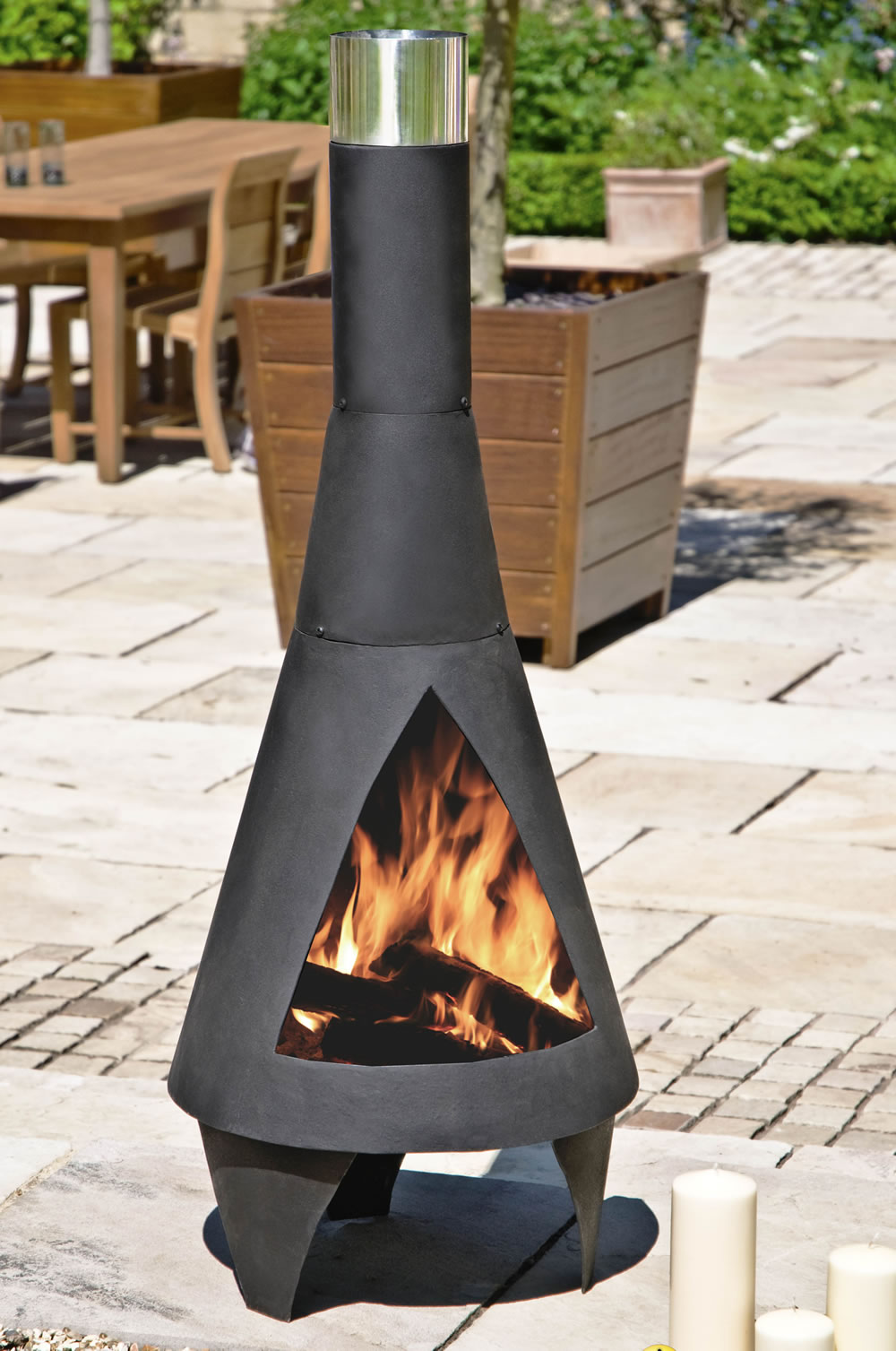 Clay And Cast Iron Chiminea For Traditional Outdoor Heat Ideas