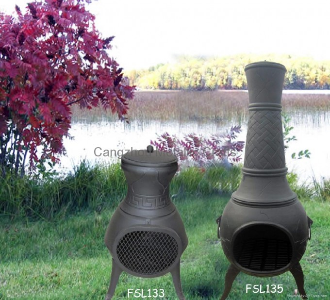 CMC Cast Iron Chiminea And Steel Firebasket FSL133 FSL135 China For Outdoor Furniture Ideas