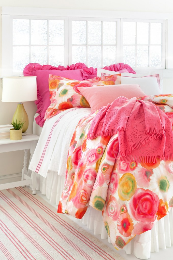 Colorful Pine Cone Hill Bedding With Rose Pattern For Bed Ideas