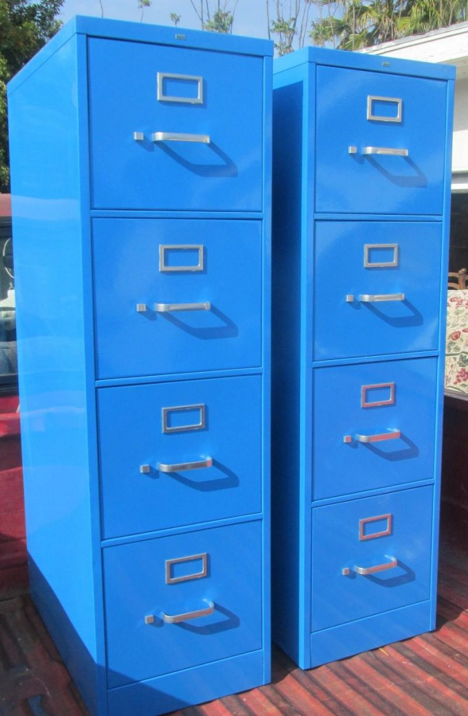 Contemporary Fireproof File Cabinet In Blue With Silver Handle For Home Office Furniture Ideas