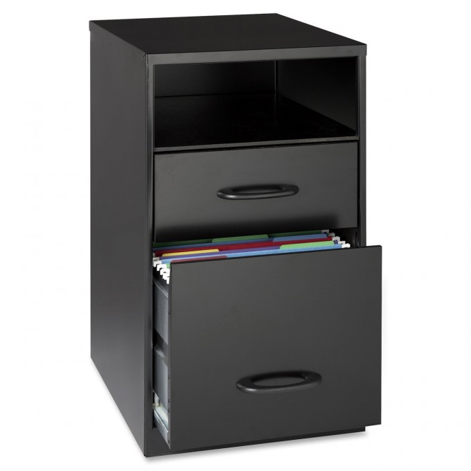 Cool Fireproof File Cabinet In Black With Double Drawers And Single Shelf For Home Office Furniture Ideas