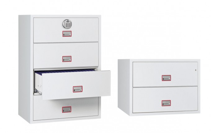Cool Fireproof File Cabinet In White With Red Handle For Home Office Furniture Ideas
