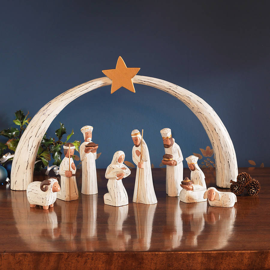 coY holy family nativity sets by traidcraft in white theme for christmas decoration ideas