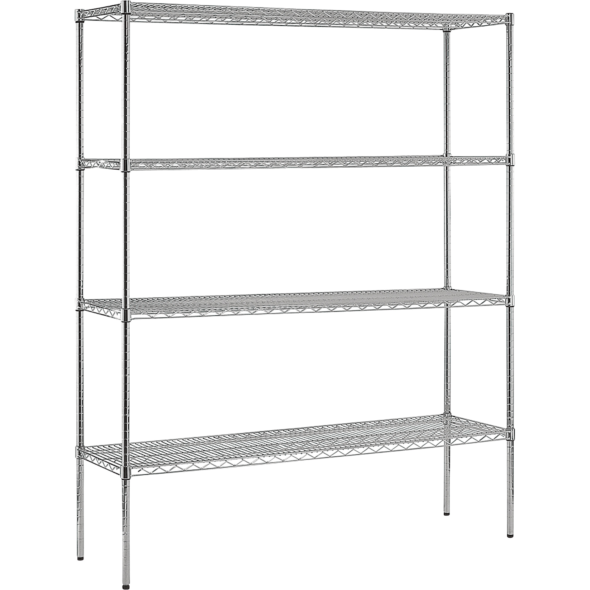 Use Edsal Shelving At Your Garage To Save Your Tools: Cozy 4 Shelf Chrome Wire Shelving Unit By Edsal Shelving For Garage Furniture Ideas