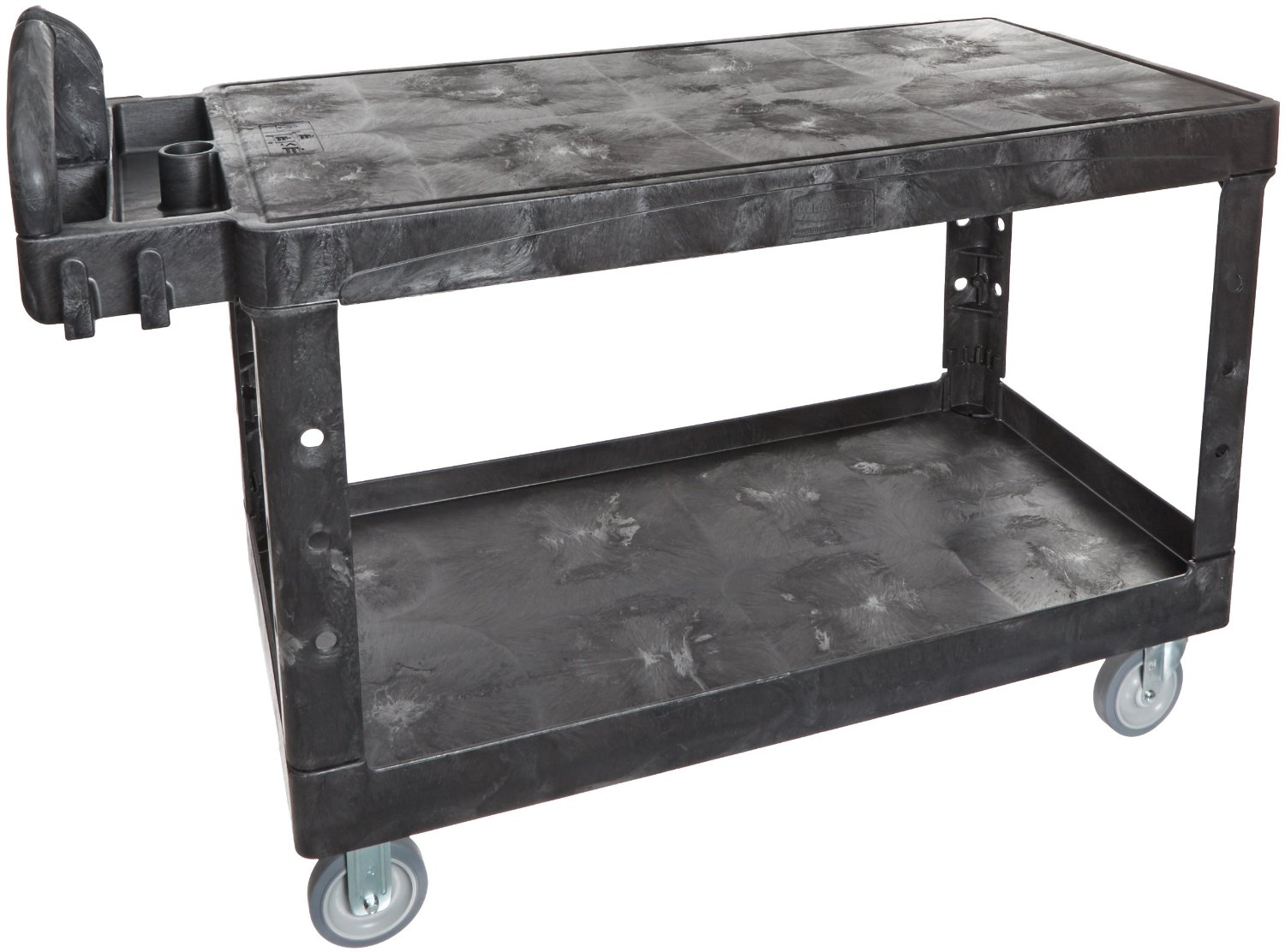 Cozy Dark Steel Edsal Shelving In Double Tier Design With Wheels For Garage Furniture Ideas