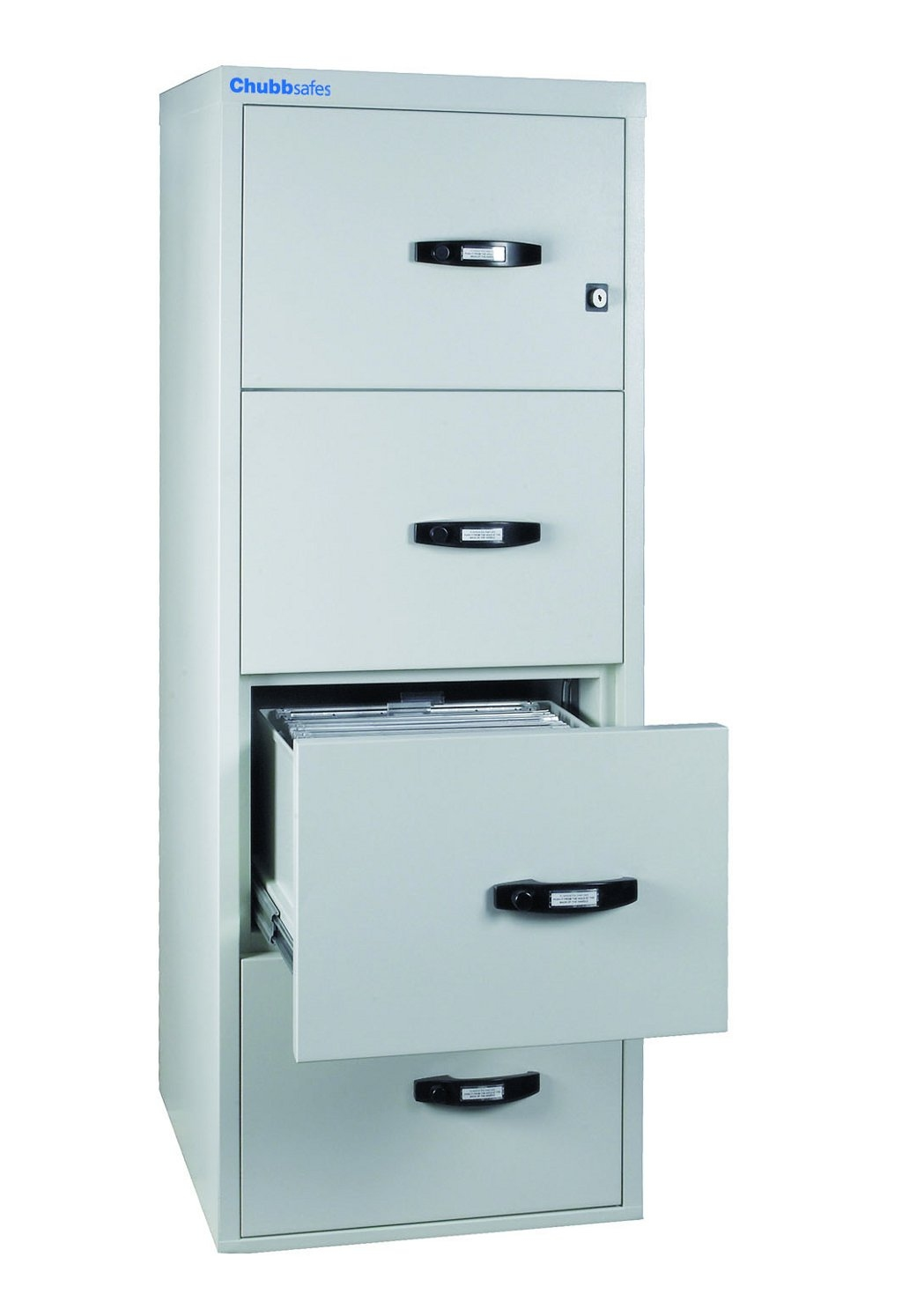 cozy fireproof file cabinet in white and four drawers with black handle for home office furniture ideas