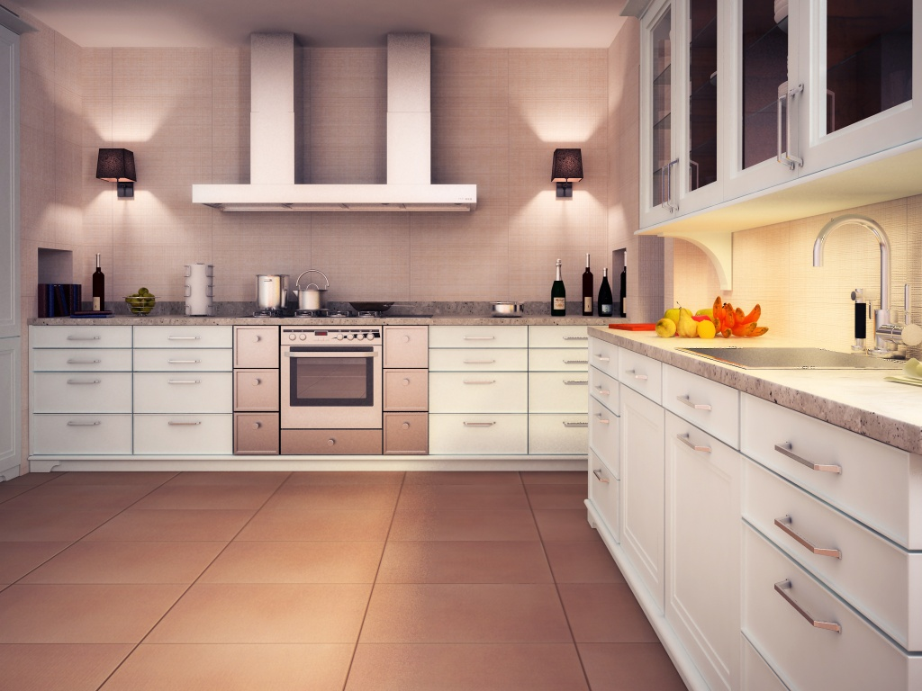cozy kitchen decor with interceramic tile floor and white kitchen cabinet plus stove ideas