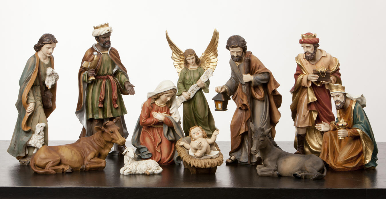 cozy nativity sets with seated horses for christmas ideas