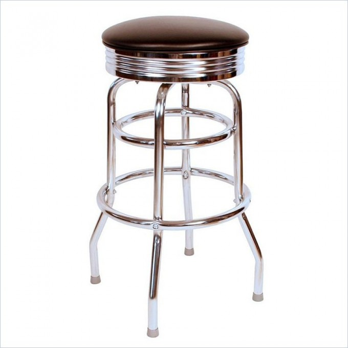 Cozy Retro 1950s 30inch Chrome Swivel Bar Stool In Black By Cymax Bar Stools For Home Furniture Ideas