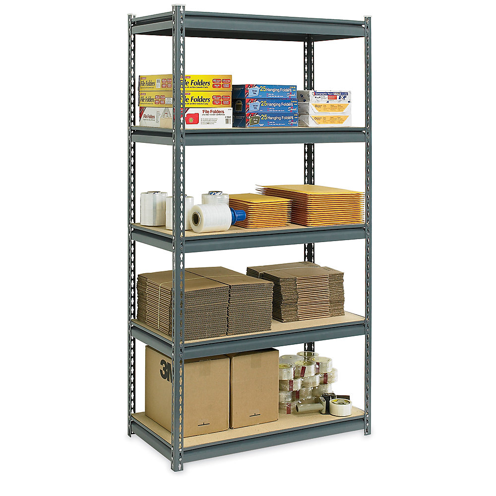 Use Edsal Shelving At Your Garage To Save Your Tools: Cozy Ultra Rack Heavy Duty Boltless Shelving In Gray By Edsal Shelving For Garage Furniture Ideas