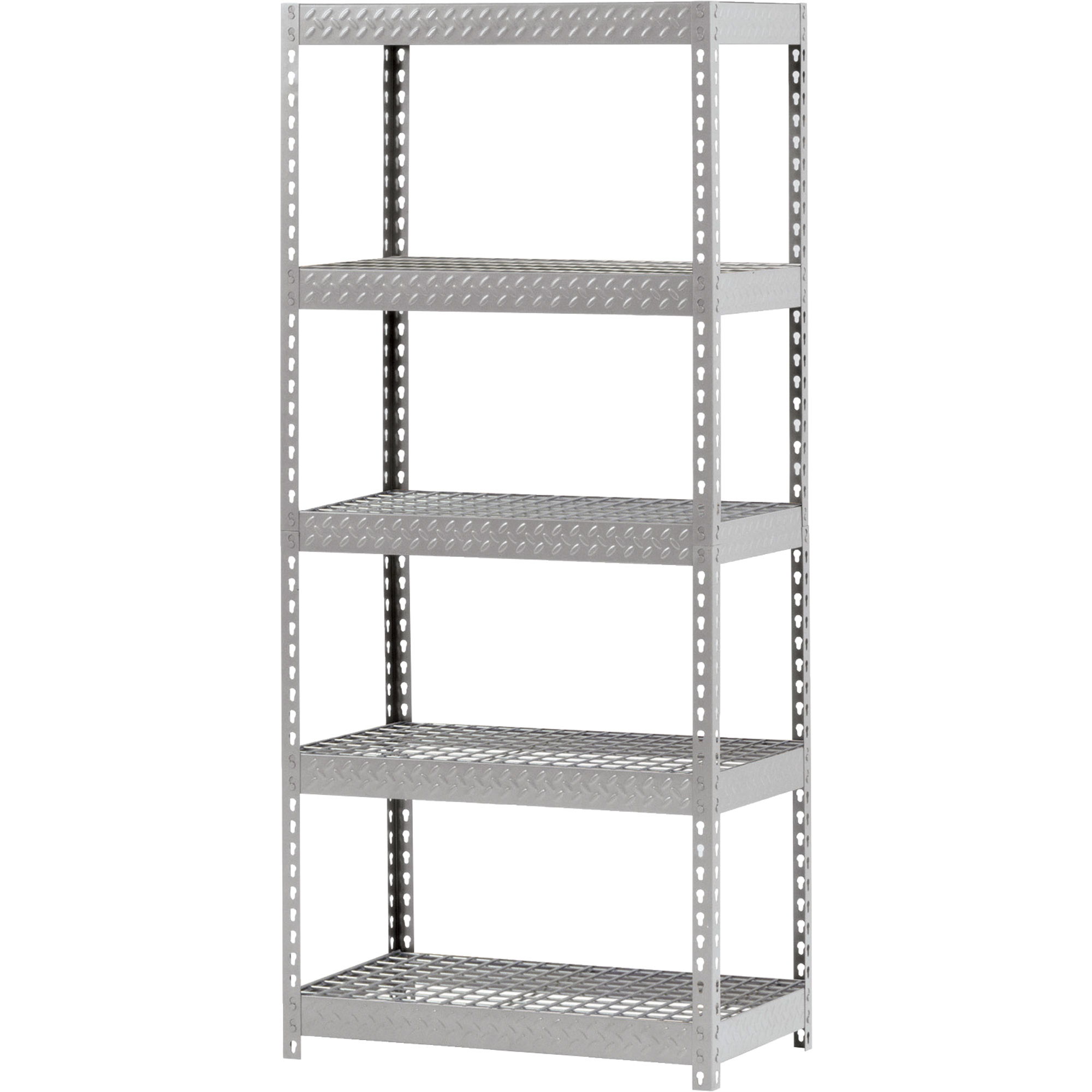 cozy white steel Edsal Shelving in five tier design for garage furniture ideas