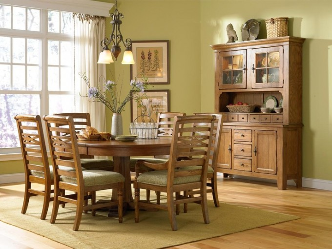 Cozy Wooden Dining Chairs With Olive Seat With Wooden Dining Table By Broyhill Furniture For Dining Room Furniture Ideas