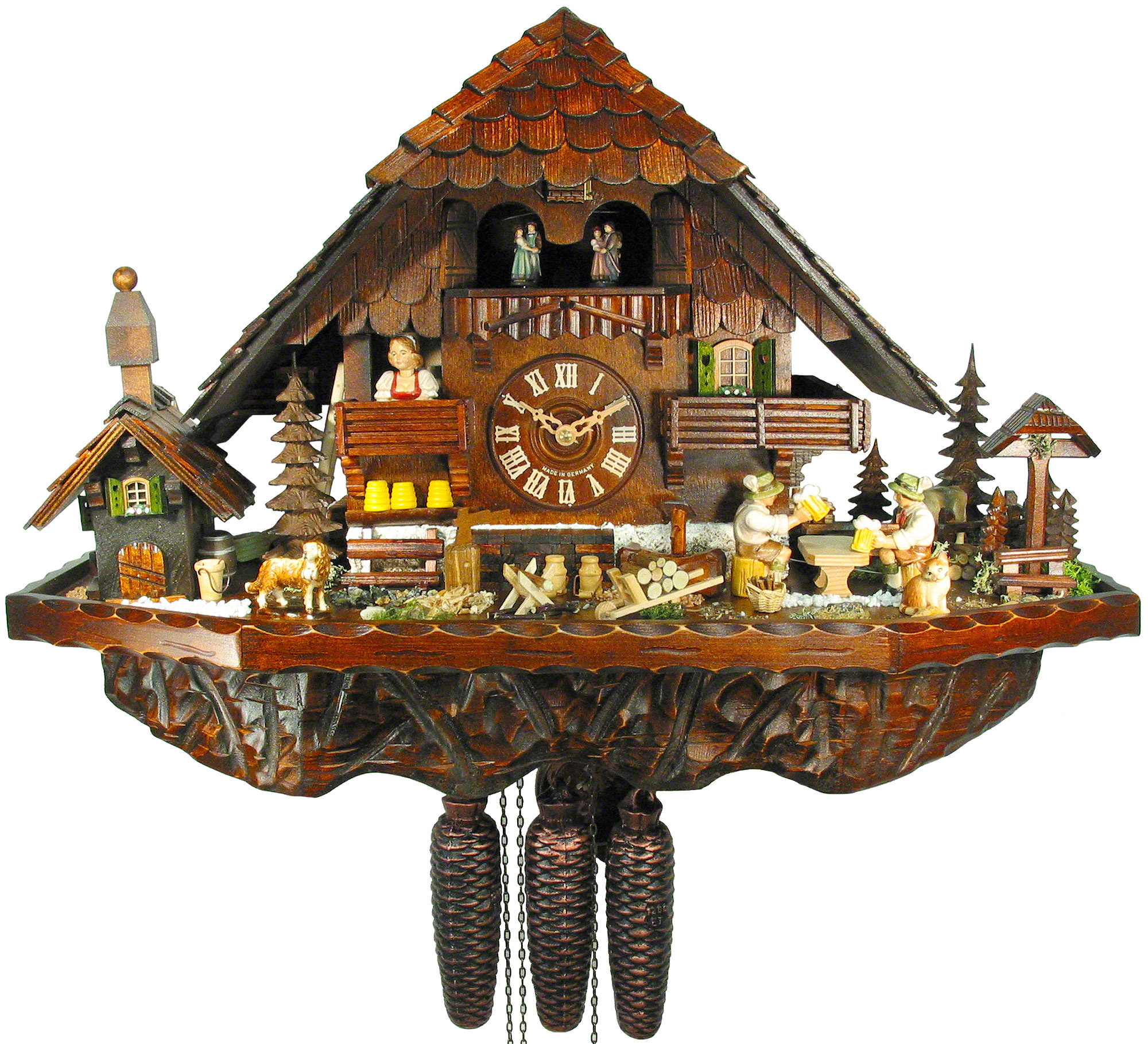 cute cuckoo clock made of wood with daily life scene for home accessories ideas