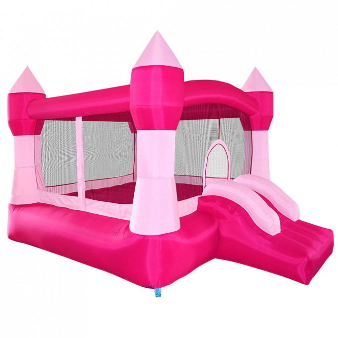Cute Little Tikes Bounce House Made Of Caoutchouc In Pink Theme With Slide For Girl Play Room Ideas
