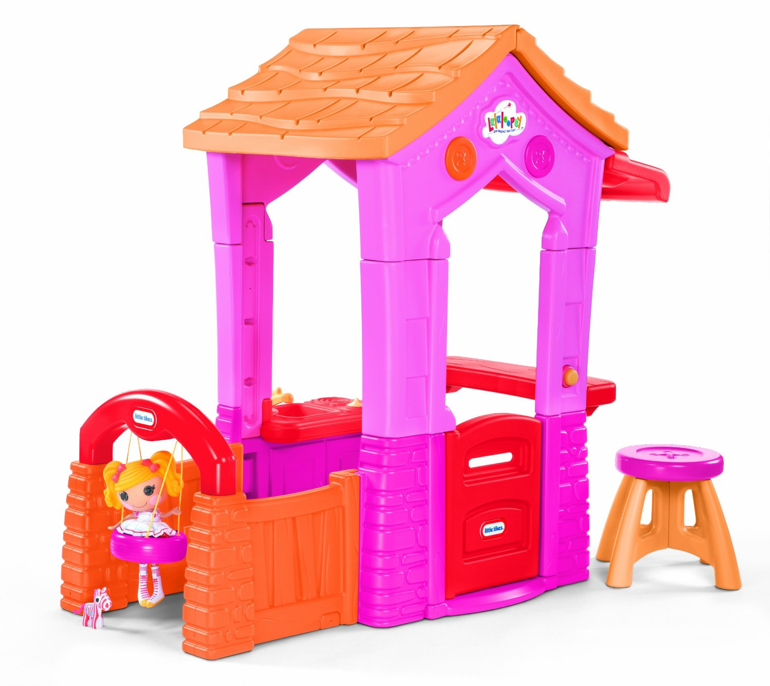 cute little tikes playhouse made of plastic with orange roof and pink siding for playground decor ideas