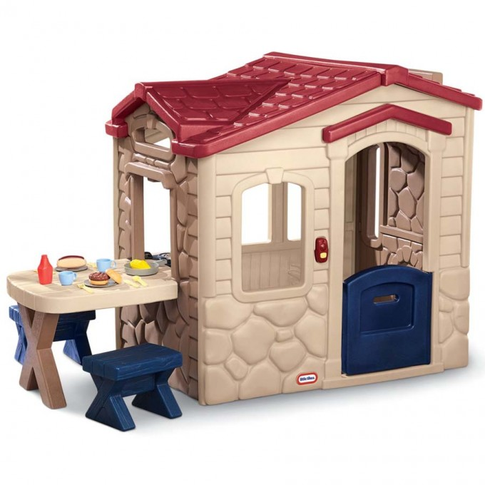 Cute Little Tikes Playhouse With Cream Siding And Red Roof With Dining Table For Kid Toys Ideas
