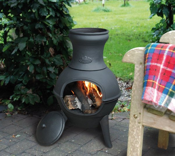 Cute Small Chiminea Outdoor Fireplace In Black For Patio Furniture Ideas