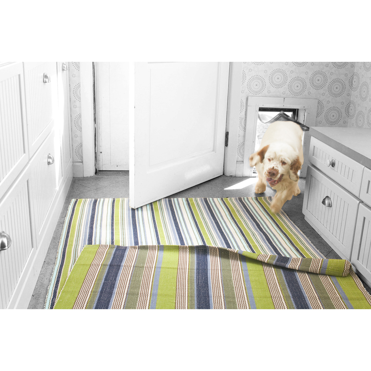 Dash And Albert Rugs Pueblo Woven Marina Stripe Indoor rug area on wooden floor which matched with ivory wallpaper for interior design ideas